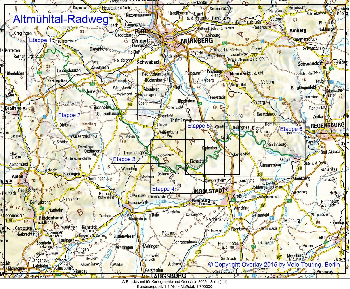 altmühltal radweg karte pdf Velo Touring   Reiseführer :: Altmühltal Radweg