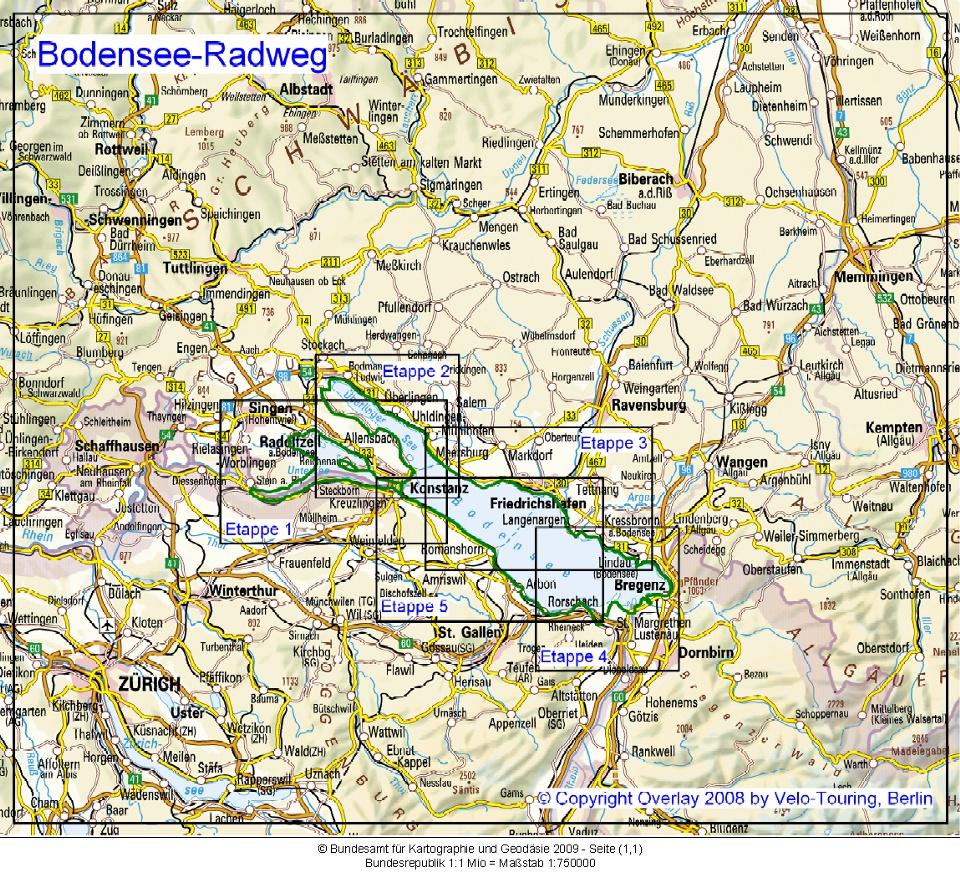 Vorwahlen Deutschland Karte.Velo Touring Reiseführer Bodensee Radweg