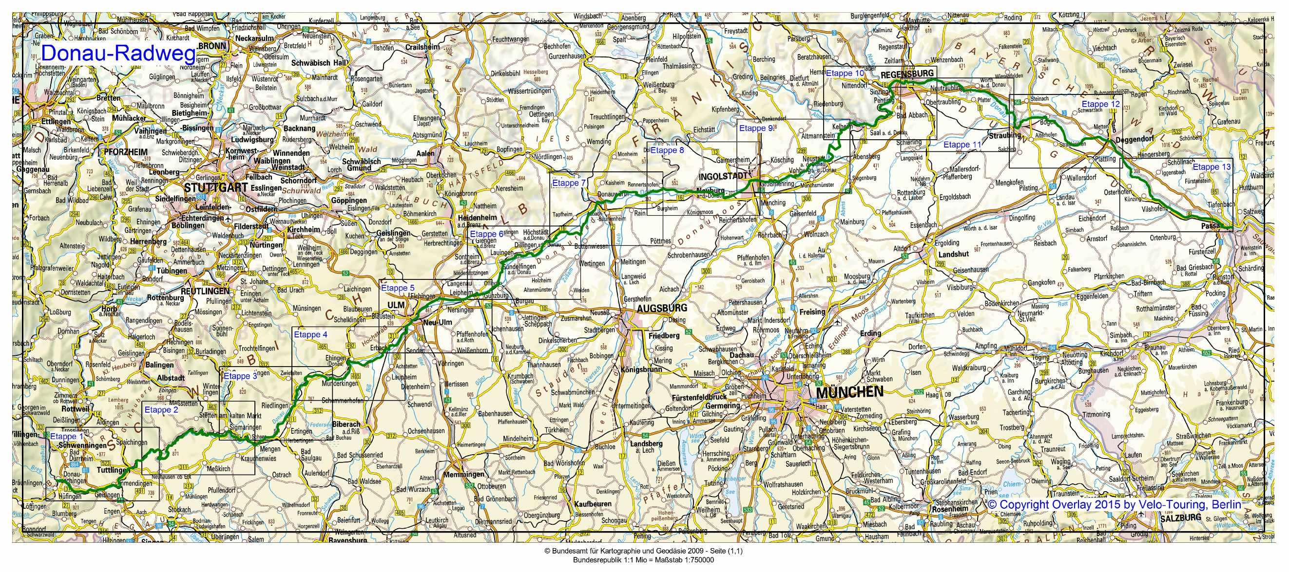 donau radweg karte Velo Touring   Reiseführer :: Donau Radweg von Donaueschingen nach