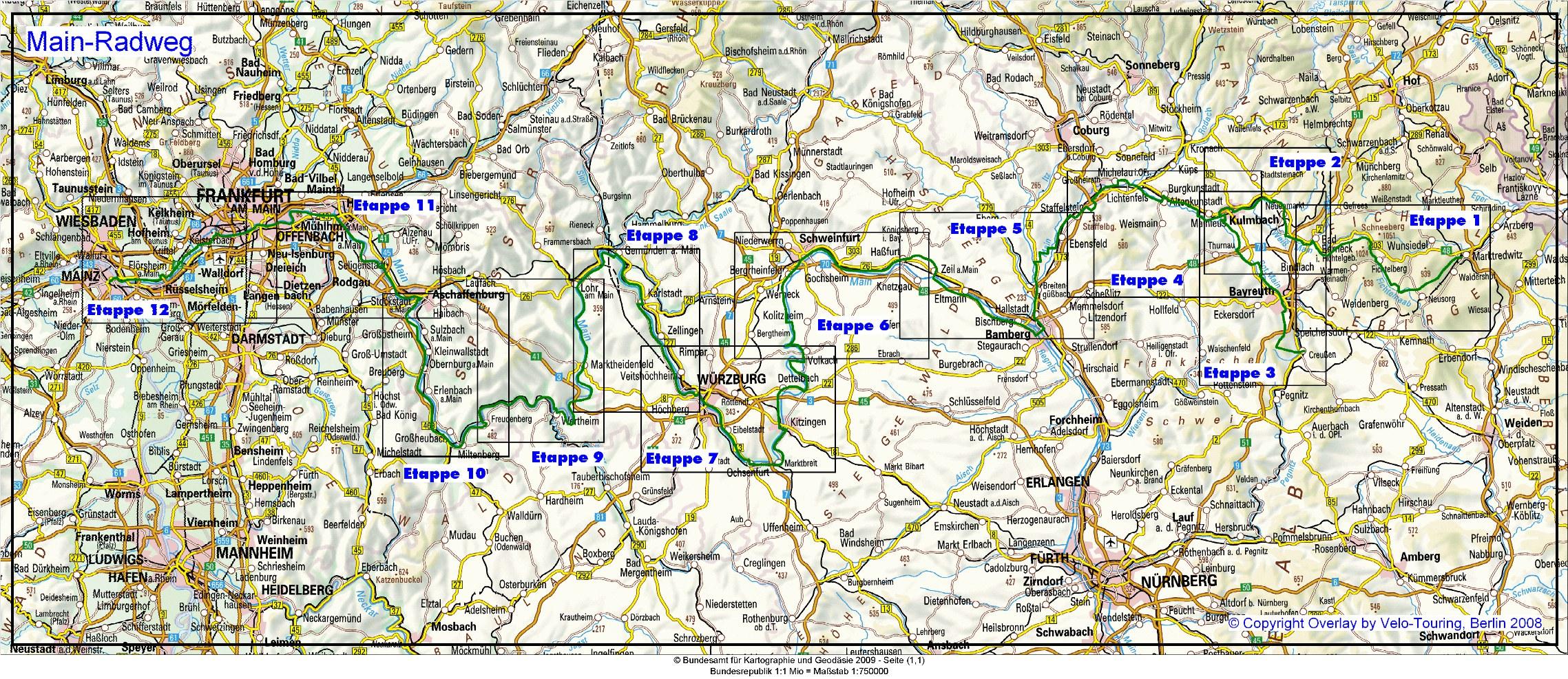 Main Fluss Karte.Velo Touring Reiseführer Main Radweg