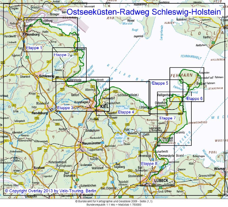 Karte Ostsee Schleswig Holstein.Velo Touring Reiseführer Ostseeküsten Radweg Schleswig Holstein